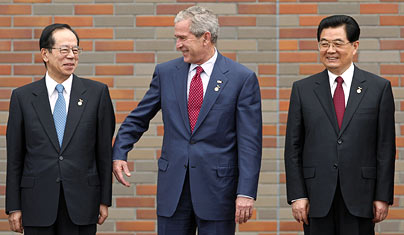 "Bush at the G8 Summit in Toyako.  As he left, he said ""Goodbye from the world's biggest polluter"" and then ""punched the air while grinning widely.""  Seriously."